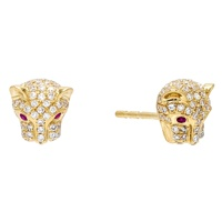 LOZRUNVE Unique Micro Zirconia Panther Head Stud Earring Sterling Silver