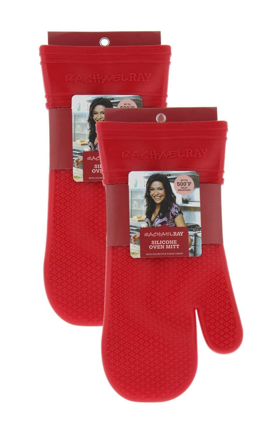 """Rachael Ray Gourmet Silicone Kitchen Oven Mitt/Glove with Quilted Cotton Liner Insulated Pocket, Heat Resistant up to 500 Degrees, Made with Non-Slip, Textured Design, 14"""" long, Cherry Red 2pk"""