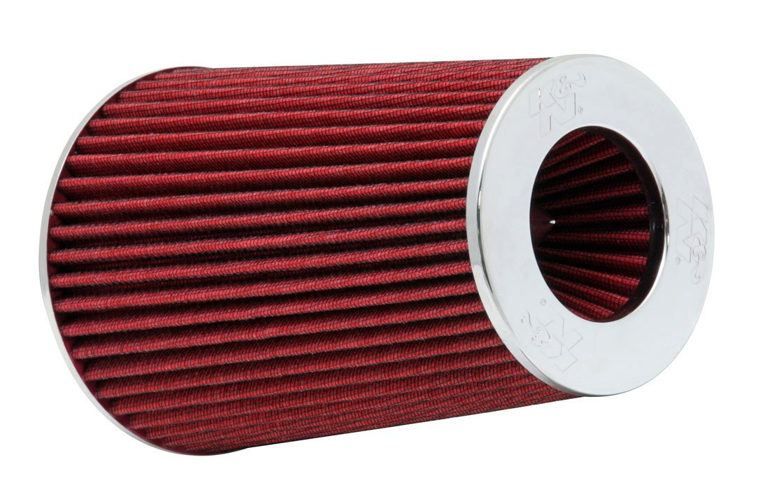 K&N RG-1002RD Universal Clamp-On Air Filter: Round Tapered; 3 in/3.5 in/4 in (102 mm/89 mm/76 mm) Flange ID; 9.5 in (241 mm) Height; 6 in (152 mm) Base; 4.75 in (121 mm) Top