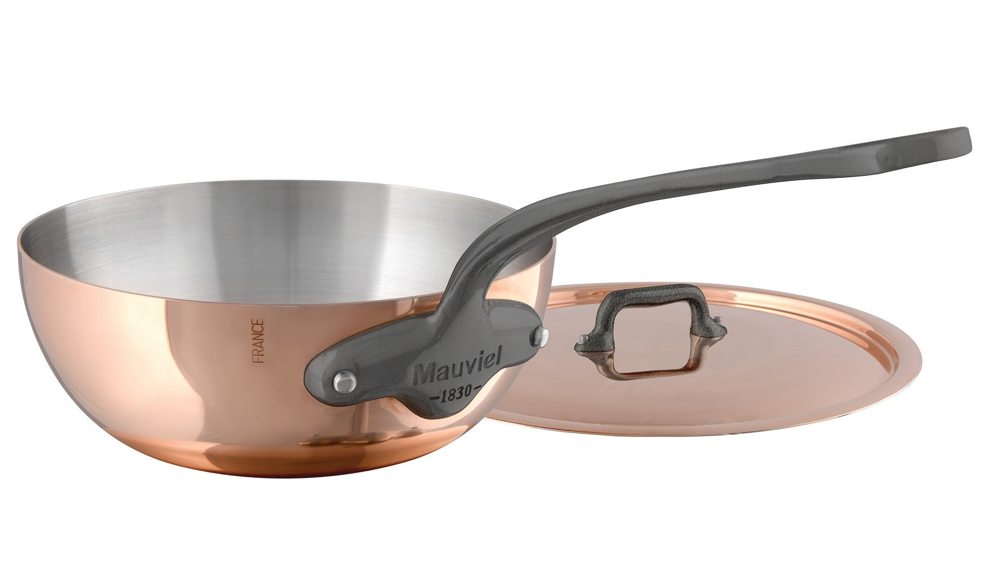 Mauviel Made In France MHeritage Copper 150s 6137.35 13.7-Inch Paella Pan with Cast Stainless Steel Handle