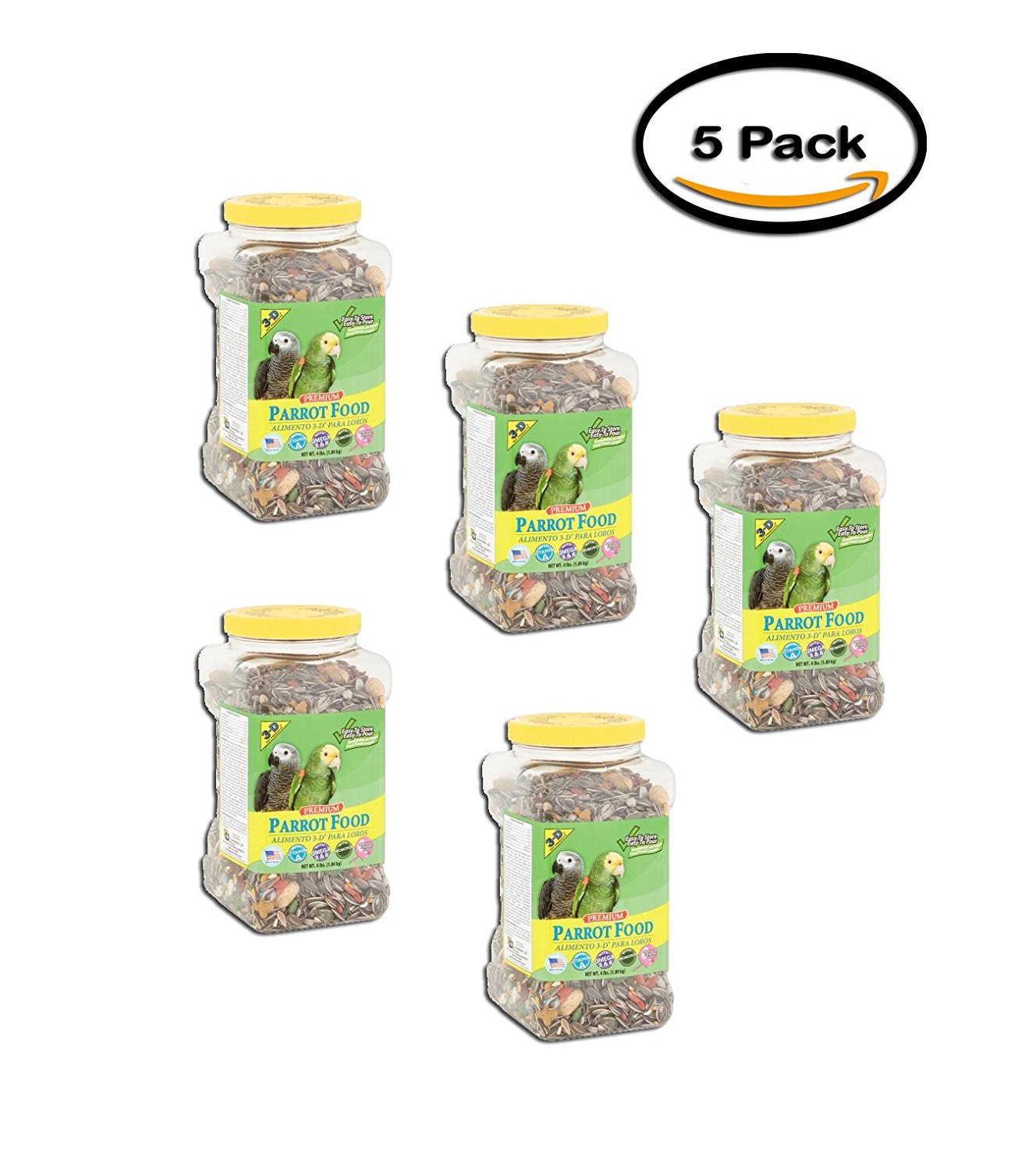 PACK OF 5 - 3-D Pet Products Premium Parrot Food, 4 lbs