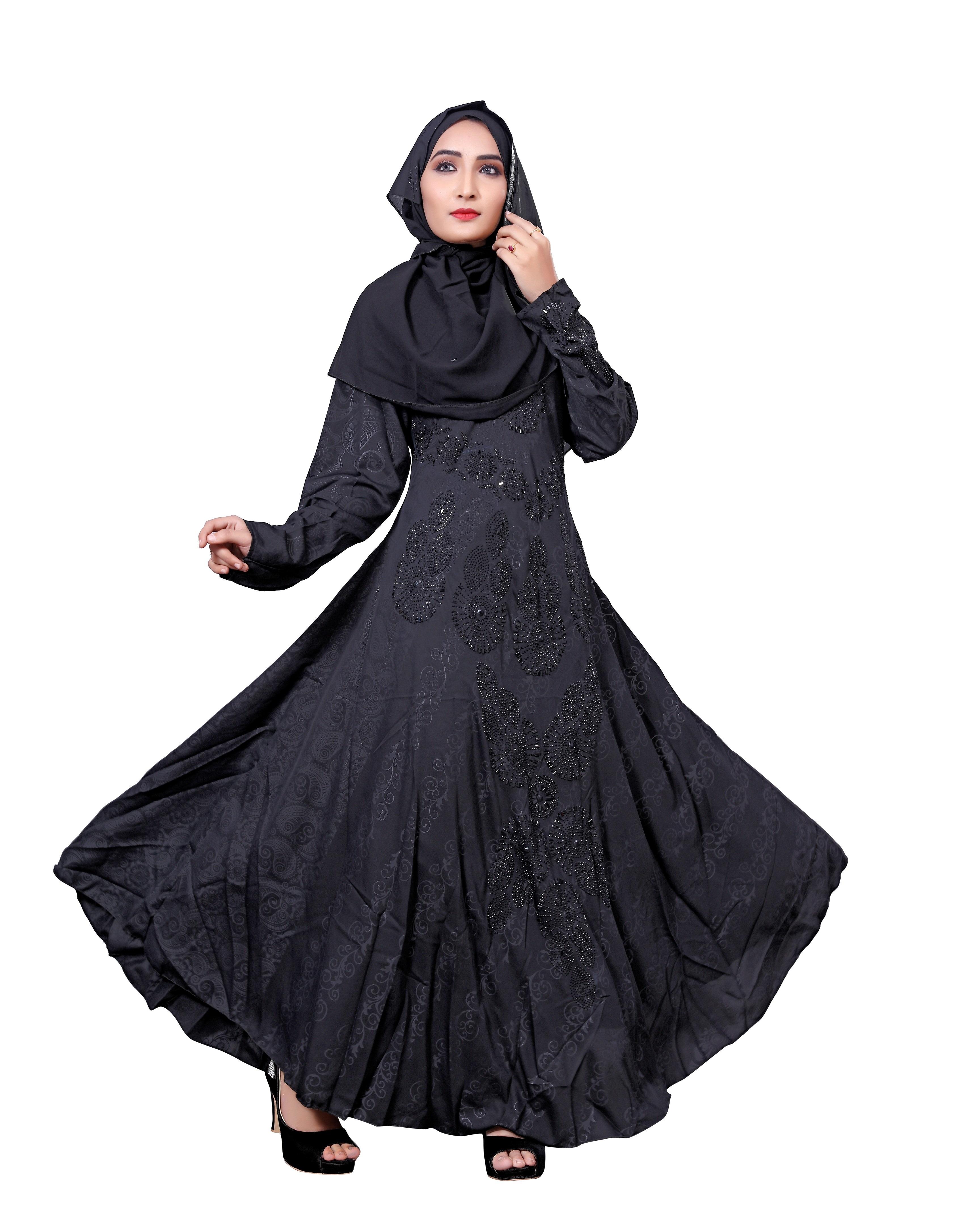 83b166bd8267 Black Color Nida Abaya Burkha With Embossed Work For Women ...
