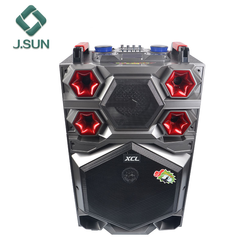 New product 15 inch DVD Portable active trolley Speaker with LED Karaoke Player light