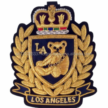 Los Angeles Blazer Badges Embroidered Bullion Crest Handcrafted Patches For  Sports Clubs,School,College,Masonic - Buy Los Angeles Blazer Badges
