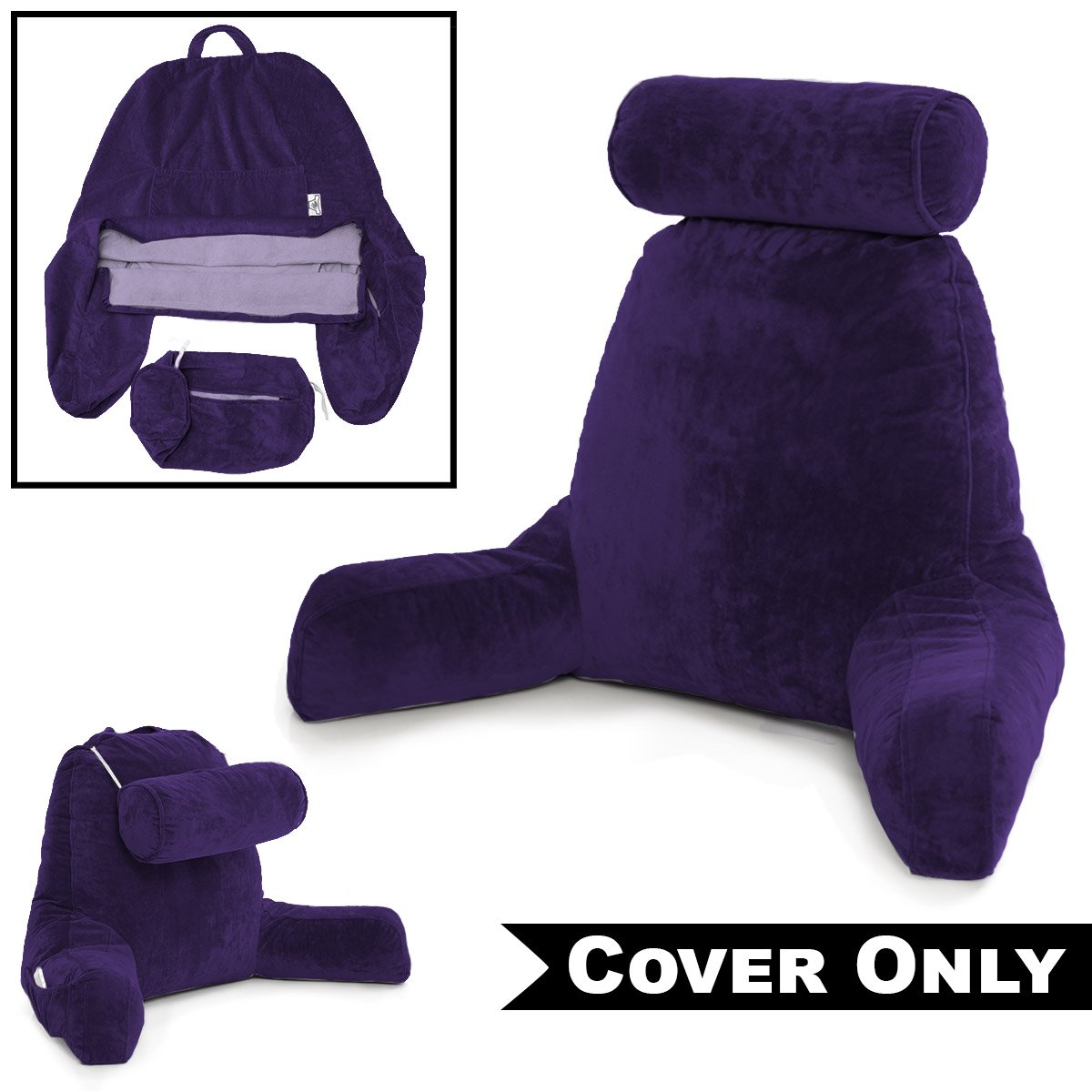 Husband Pillow Dark Purple COVER ONLY - For the Bedrest Cover Set - Support Bed Backrest Cover, Micro-Plush Cover Including Detachable Neck Roll Pillow Cover