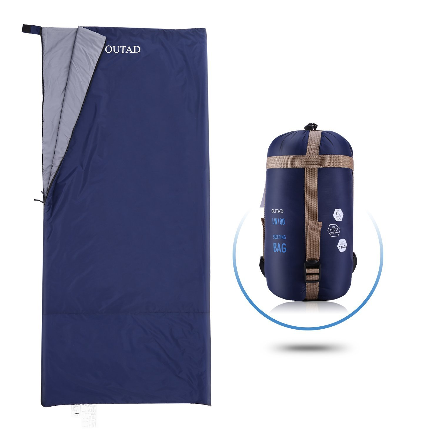 OUTAD Single Sleeping Bag -320D Lightweight Portable, Waterproof, Comfortable Envelope Sleeping Bag With Compression Sack -Great For 3 Season Traveling, Camping, Hiking (61.5 x 25.5inch)