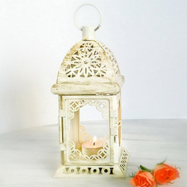 LANTERN White Metal and Clear Glass Moroccan Style Wedding Candle Lamp NEW