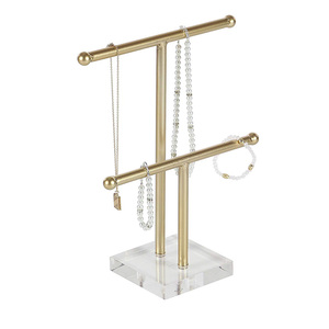 Luxury Necklace Window Showcase Gold Iron and Acrylic T-Bar Jewelry Holder, 14 x 10 Clear