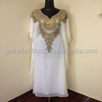 2014 Hot Sale Long Beaded Wholesale Islamic Clothing Maxi Dress Dubai Batwing Abaya Kaftan With Hijab Bridal kaftan dress