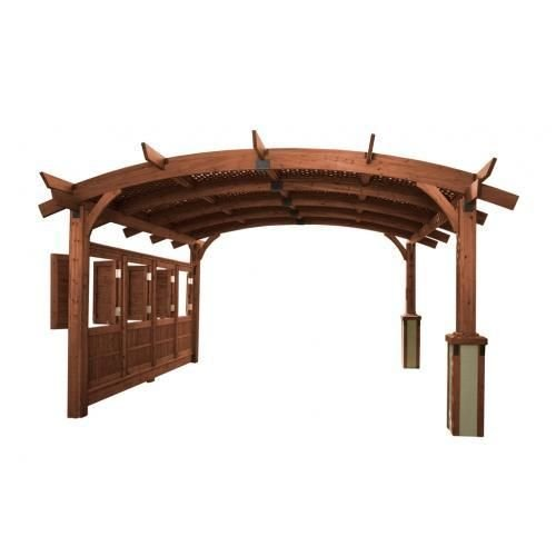 Get Quotations 16 X Sonoma Arched Wood Pergola With Lattice Roof Privacy Wall