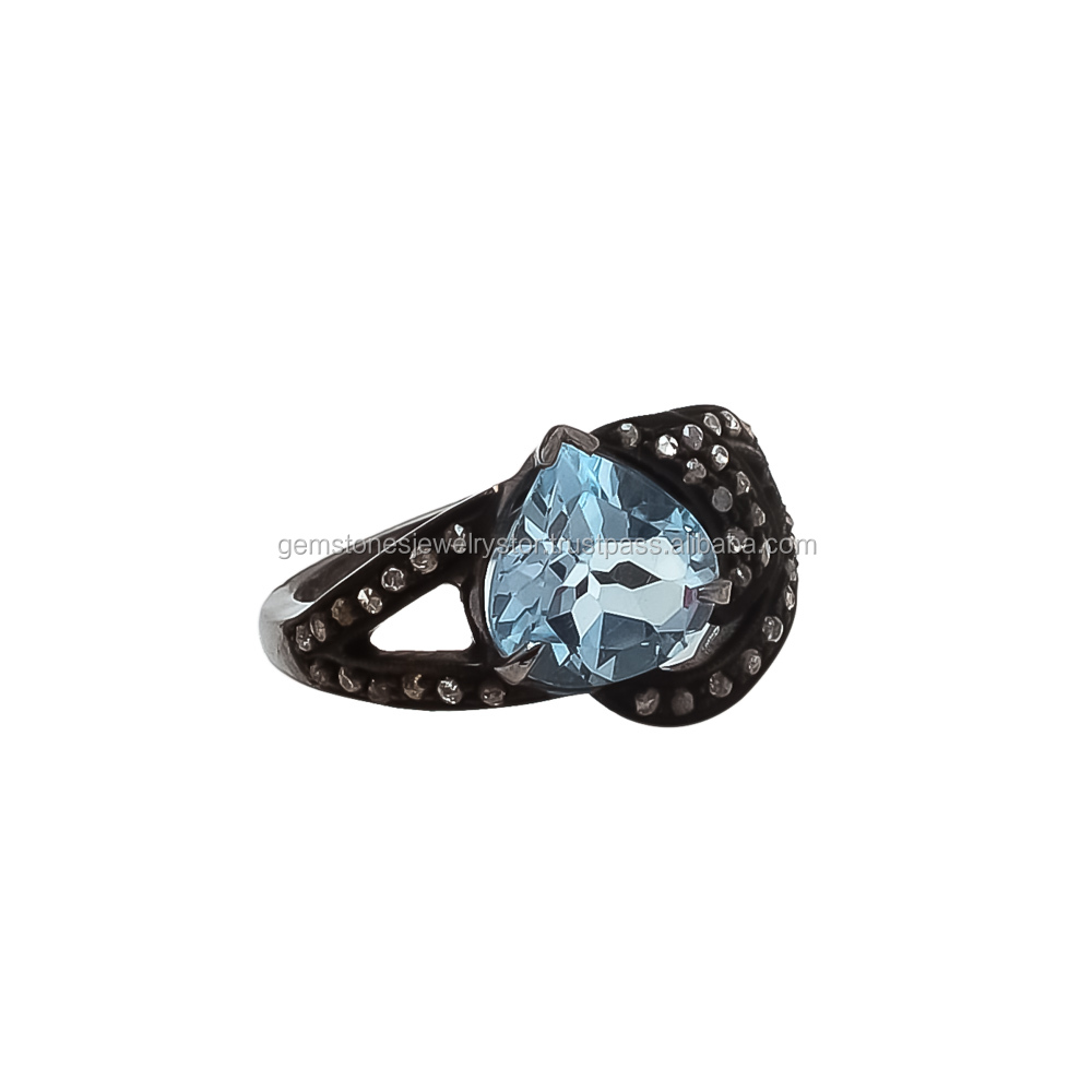 Pretty Rings Victorian Made Diamond Cut Blue Topaz With Rose Silver Oxidized Ring