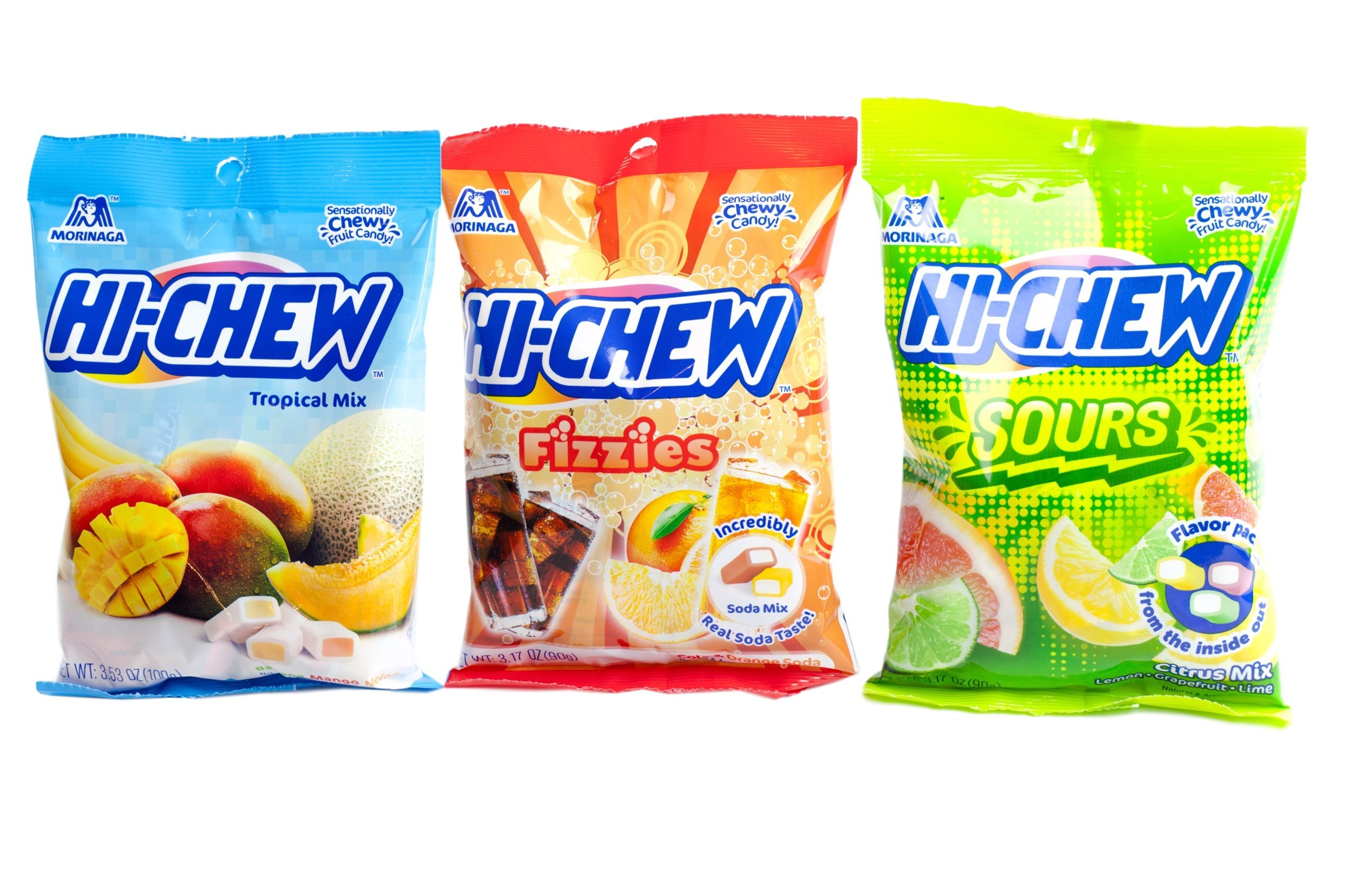 Hi Chew Candy 3 Flavor Variety Pack Bundle (Tropical Mix, Sours, Fizzies)