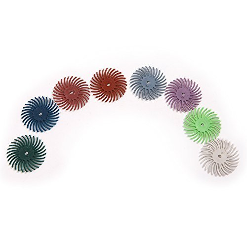 Atoplee 8pcs Grit 80# 120# 220# 320# 400# 600# 1000# 2500# Radial Bristle Disc Brushes for Polishing