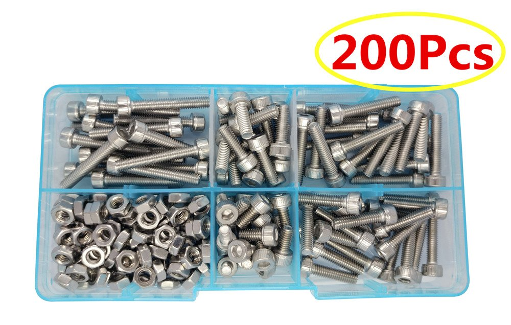 Guard4U 200Pcs M4 304-Stainless Steel Metric Hex Socket Head Cap Screws Nuts Assortment Kit(5 Sizes)