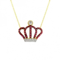 14k gold King crown red zircon stone necklace