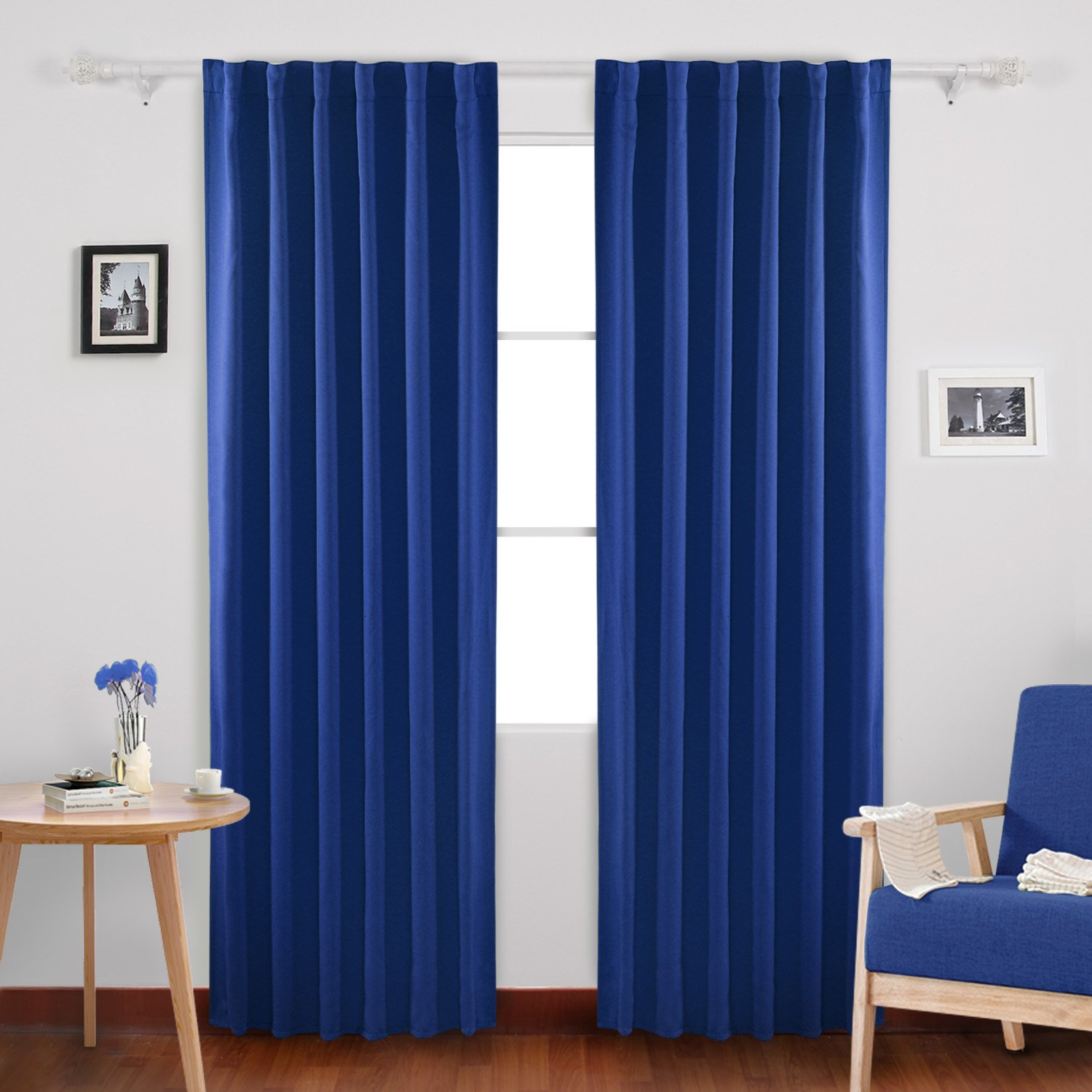 Deconovo Solid Rod Pocket Curtains Room Darkening Curtains Blackout Thermal Insulated Curtains for Living Room 52x84 Inch Royal Blue 1 Pair