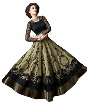 Adorable Anarkali Flair Style Black Golden Colour Semi Stitched