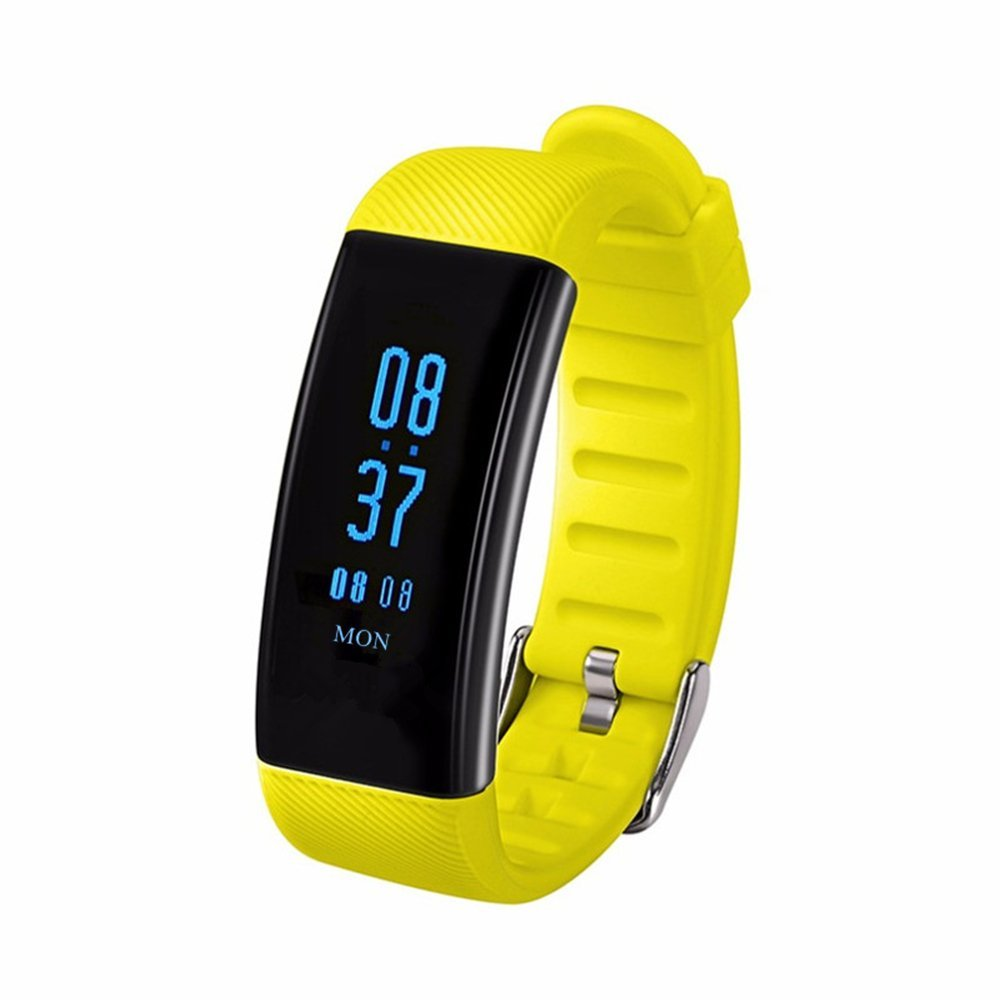 Fitness Tracker Watch PPG Blood Pressure Heart Rate Real-time Monitoring Swimming Count Calories Pedestrips Mileage Tracks Touchscreen Skin-Friendly Material Strap IP68 Waterproof (yellow)
