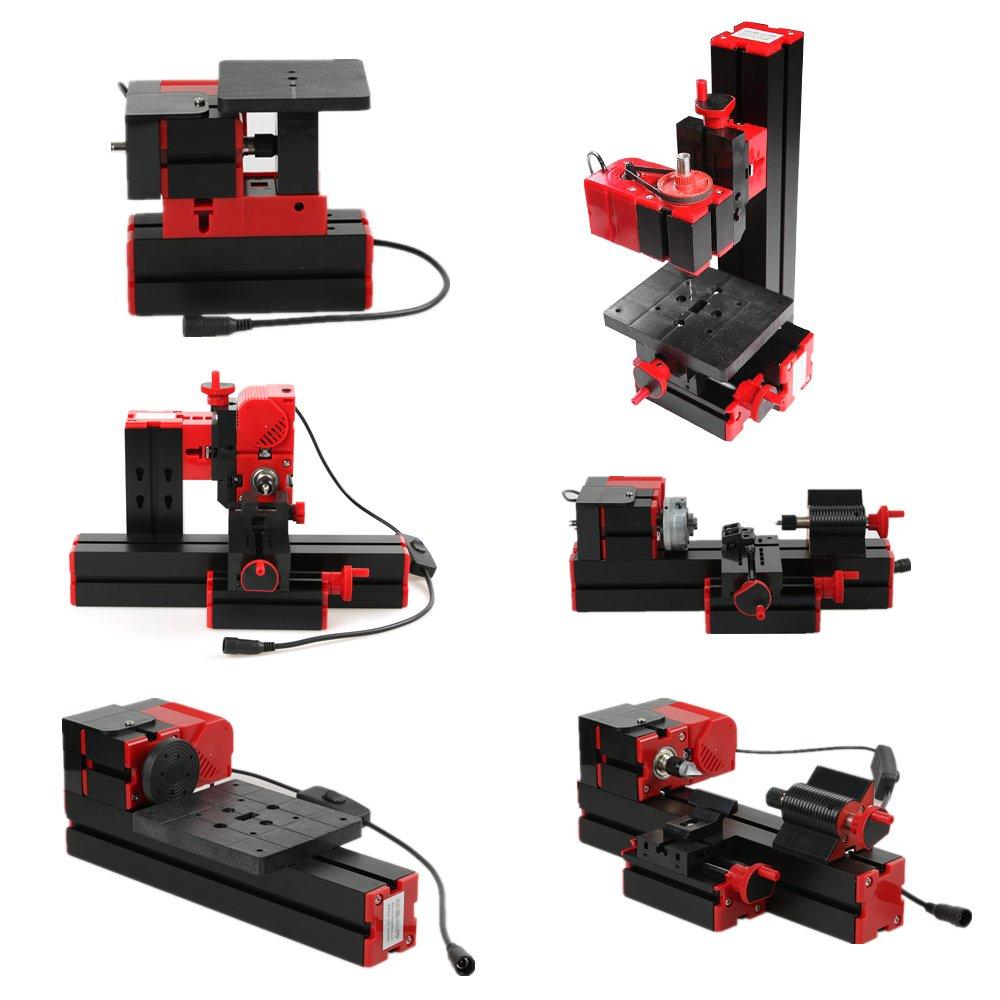 KKmoon Mini Metal Lathe DIY 6 in 1 Multi-functional Motorized Transformer Multipurpose Machine Jigsaw Grinder Driller Plastic Wood Lathe Drilling Sanding Turning Milling Sawing Machine Tool Kit