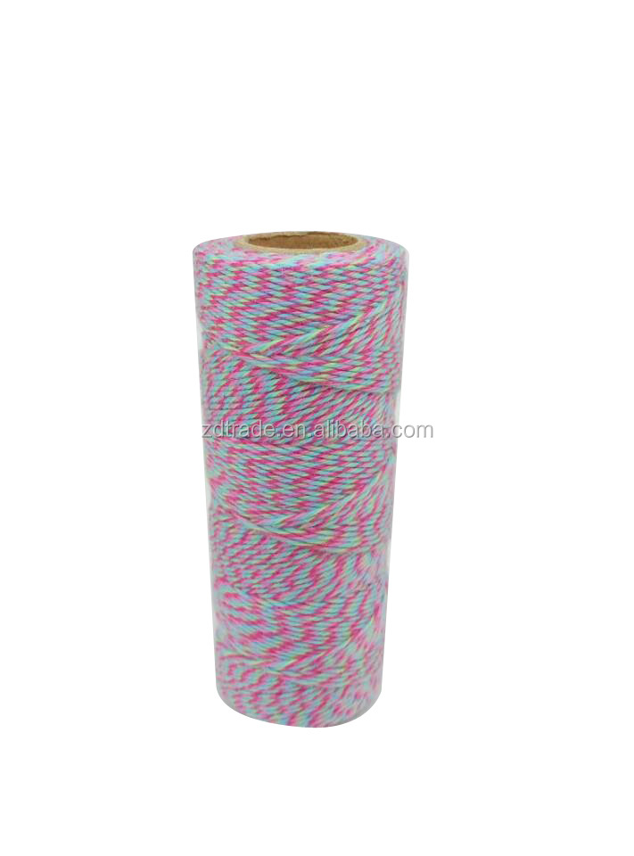 2018 New hot sale four mixed color Cotton bakers twine gift wrap 80 yards