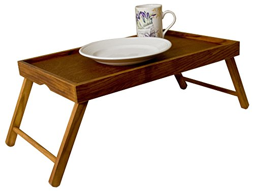 Rustic And Sturdy Pine Wood Foldable Bed Serving Tray Ideal For Breakfast In Bed Or TV Dinners