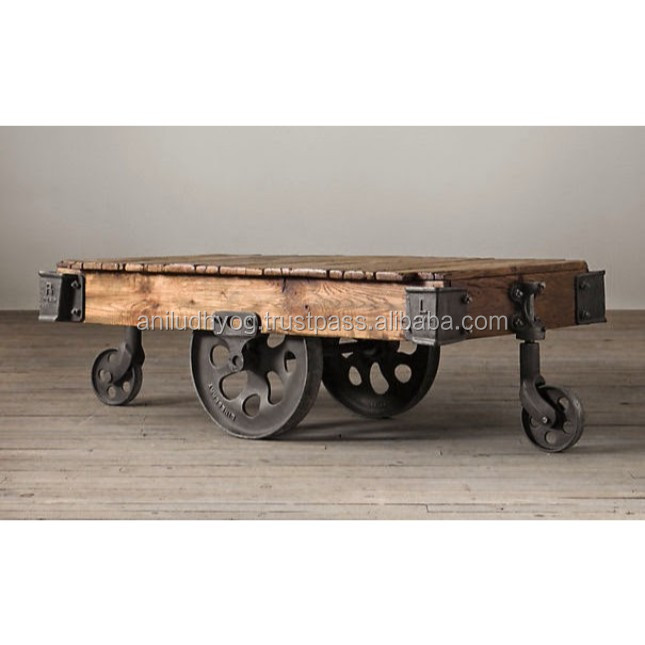 Vintage Cart Coffee Table With Cast Iron