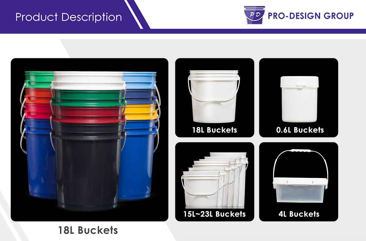 5 Gallon in-mold labeling nested round bucket