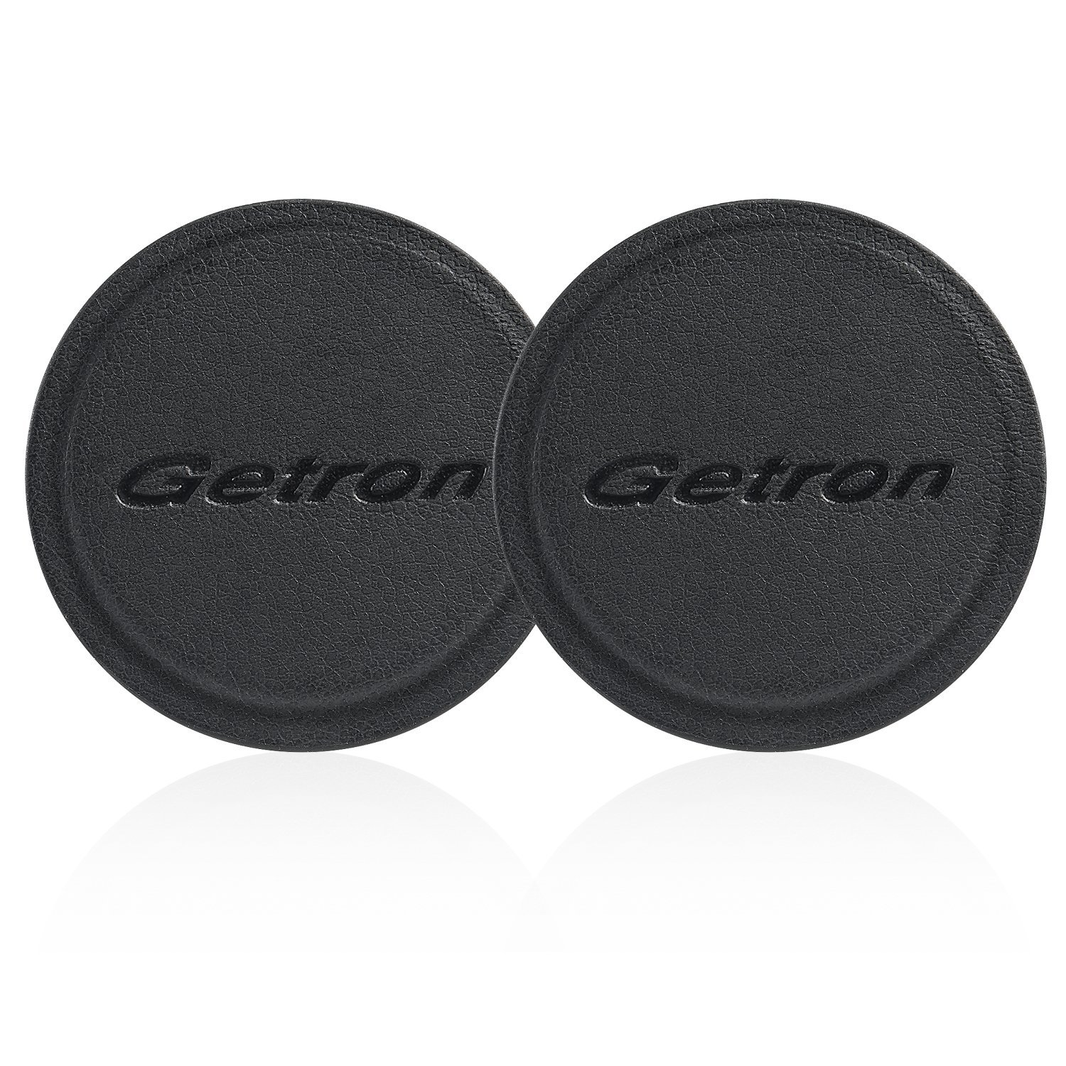 Mount Metal Plate, Getron 2 Pack Universal Replacement Mount Leather Metal Plate Kit with 3M Adhesive for Magnetic Car Mount Cell Phone Holder, 2 Round Shape, Smooth Edge – Black