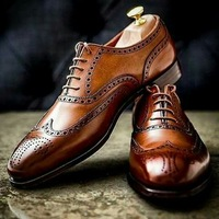 Brown Oxford Brogue Dress Shoes, Whole Sale Hand Crafted Mens Footwear