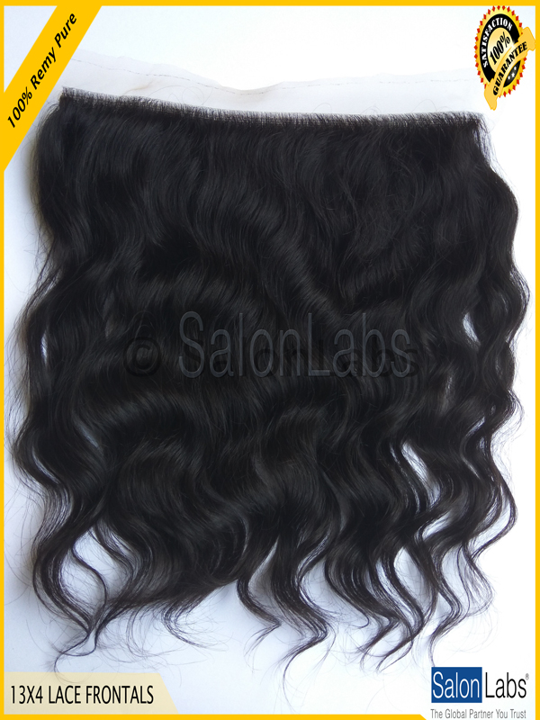 16 inch Remy Pure Natural Wavy Lace Frontals #01B Human Hair Extensions