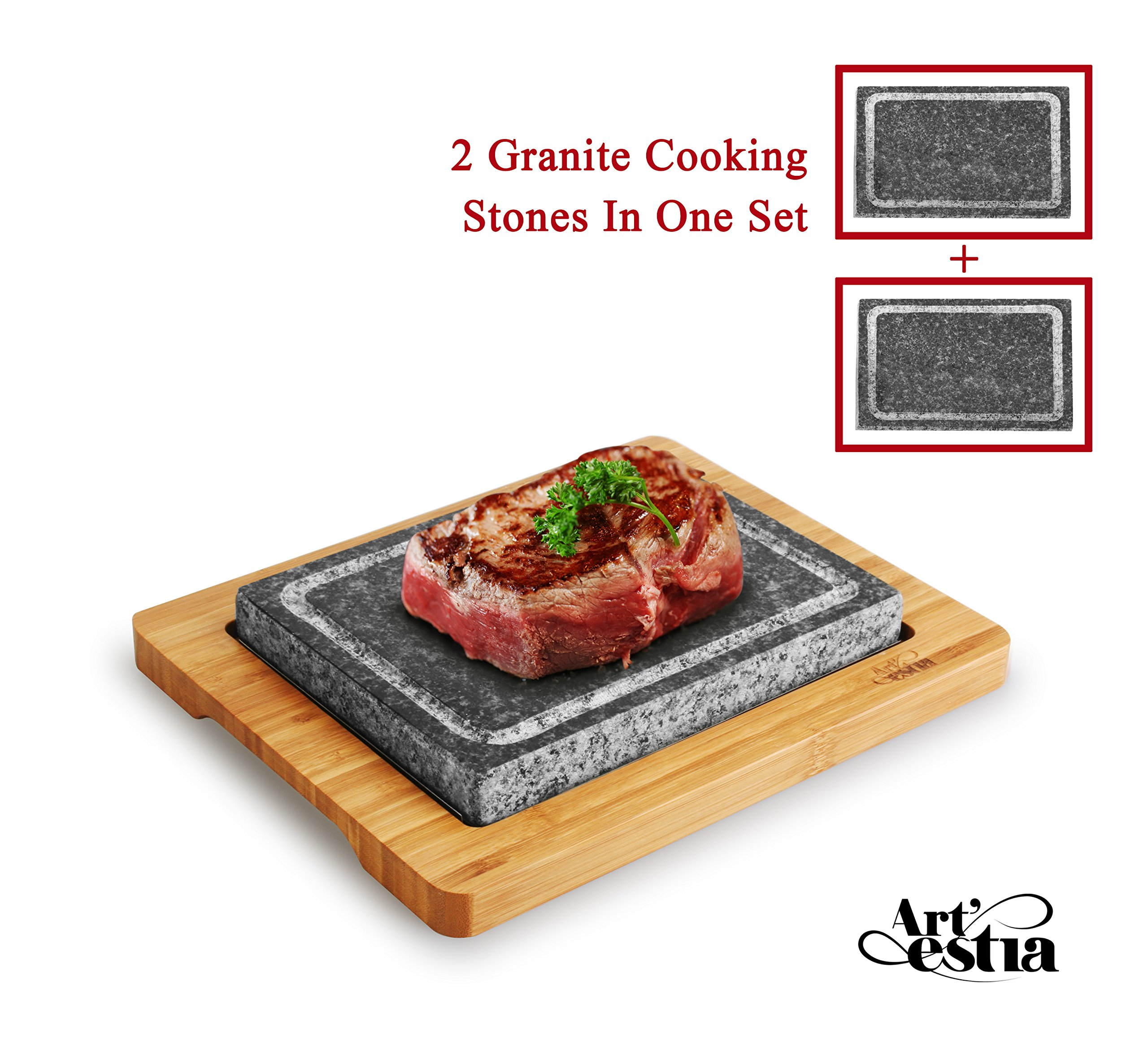 Artestia Double Cooking Stones Sizzling Hot Stone Set, Deluxe Tabletop Barbecue/BBQ / Hibachi/Steak Grill (Two Stone Deluxe Set)