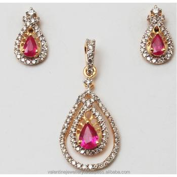 Pear Design Ruby Diamond Studded Pendant With Little Stud Earrings
