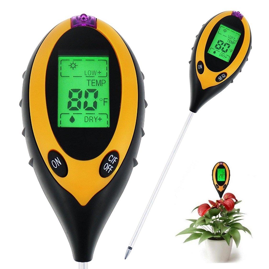 pH Soil Meter, 3-in-1 Soil Tester Kit for Moisture, Light and pH / acidity Meter Plant Tester Soil Moisture Meter for Garden Farm Lawn Planter (4 in 1)