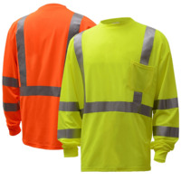 high visibility security fluorescent safety green/oreng basic long sleeve t shirt