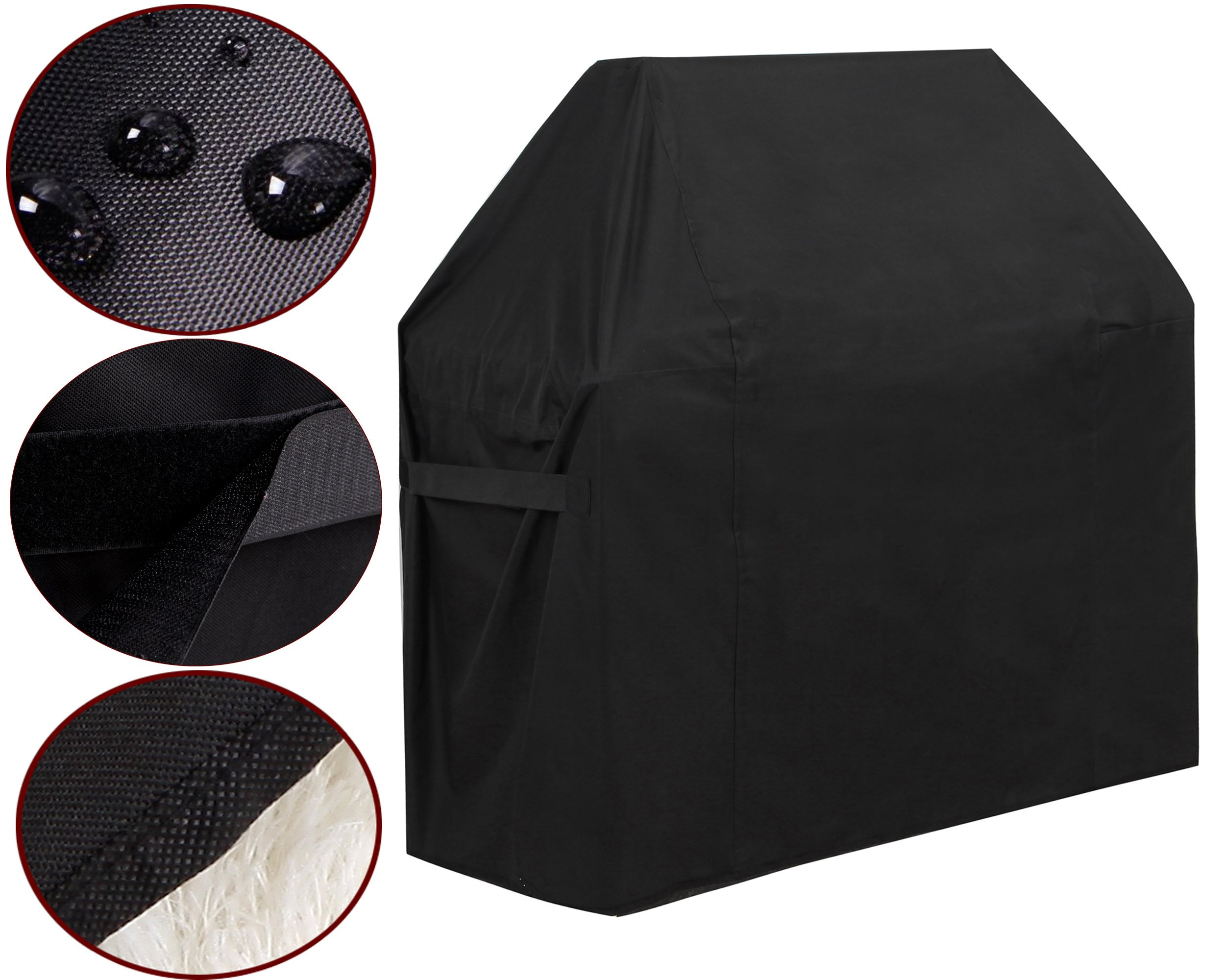 "GoProver BBQ Gas Grill Cover, fits up to 58"" L x 24"" D x 48"" H 600D Heavy Duty BBQ Gas Grill Cover for Genesis E and S Series Gas Grills Outdoor Barbeque Grill Covers Waterproof & Weather Resistant"