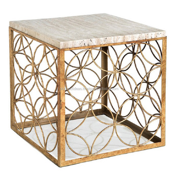 Gold Leaf Square Side Coffee Table Metal Frame Gl Marble Top Luxury Decorative Accent Living