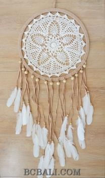 Bali Handmade Crochet Dream Catcher Leather Suede Feather Home Decor