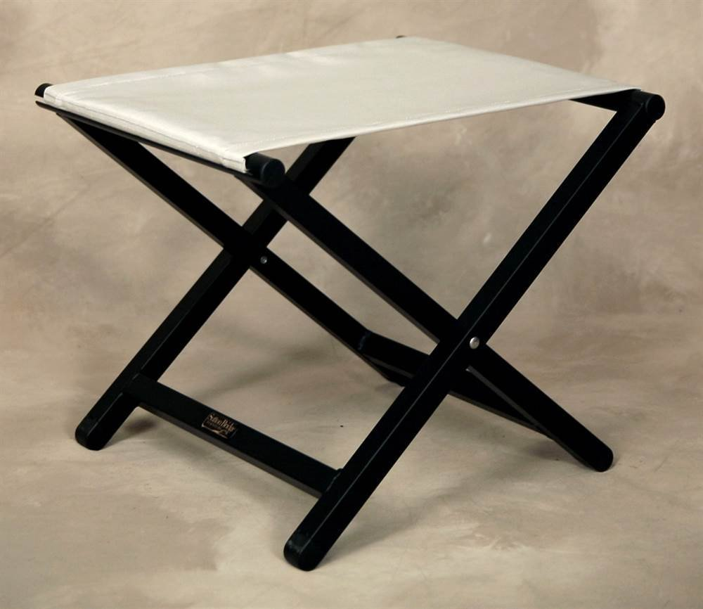 Folding Director Style Footstool w Aluminum Frame in Silver
