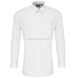 Unisex Long Sleeve Fitted Poplin Work Shirt