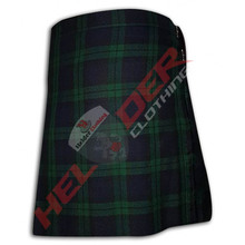 black watch wool blend tartan ladies utility kilt 2 left side straps with buckles