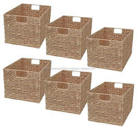 Wicker Rectangular Shelf Storage Basket Water Hyacinth Basket