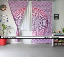 Bella Porta <span class=keywords><strong>Tenda</strong></span> di Finestra di Colore Rosa/Viola Tema di Base Indiana Mandala Ombre Decor