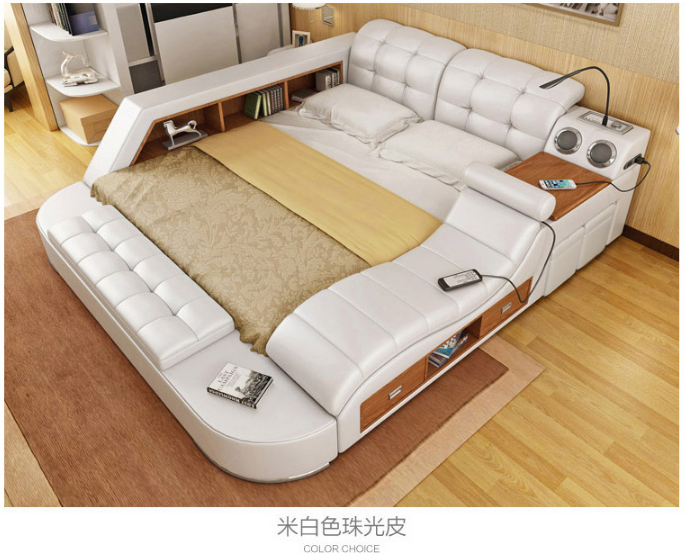 Multifunctional Massage Bedroom Furniture Genuine Leather Bed with Speaker
