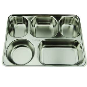 School Mess Stainless Steel Dinner Plate Buffet Tray Lunch Box, High Quality 5 Compartment Dinner Plate