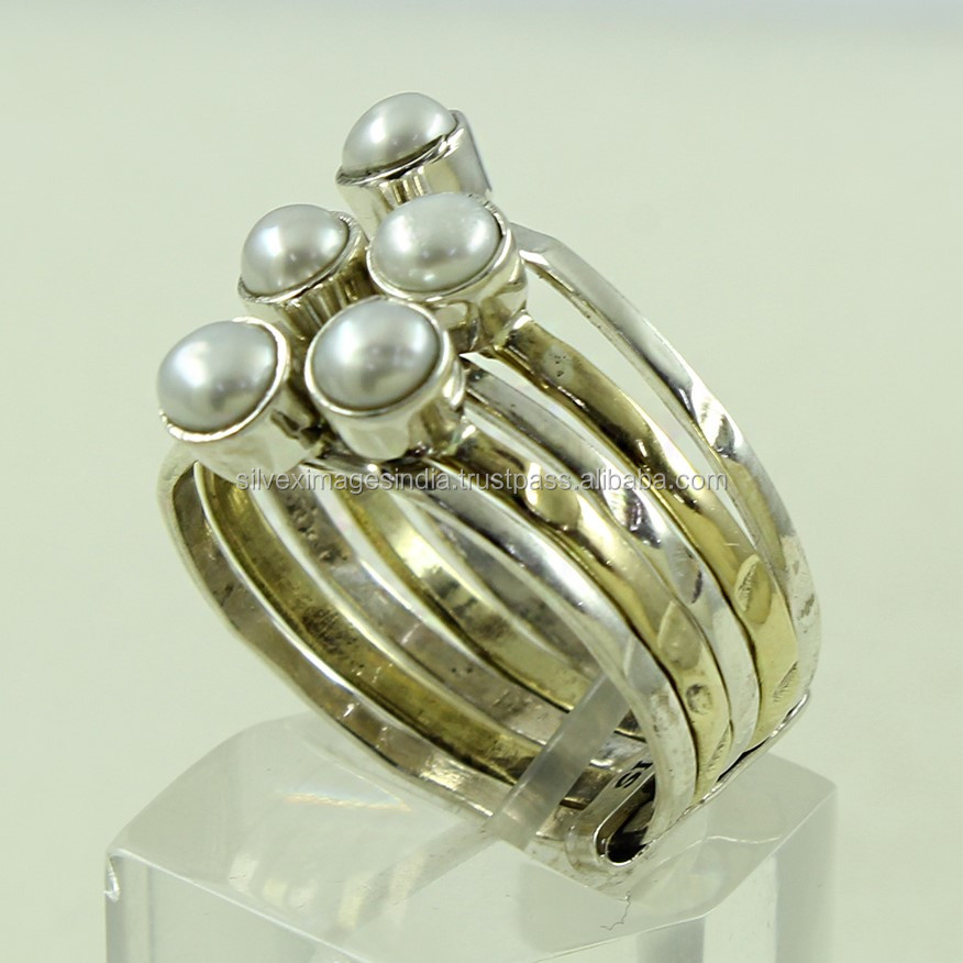 Two Tone 925 Sterling Silver Stack Ring, Pearl Stone Ring, Handmade Silver Ring