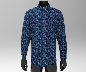 shirt man plumage pattern digital print made in italy 100% cotton