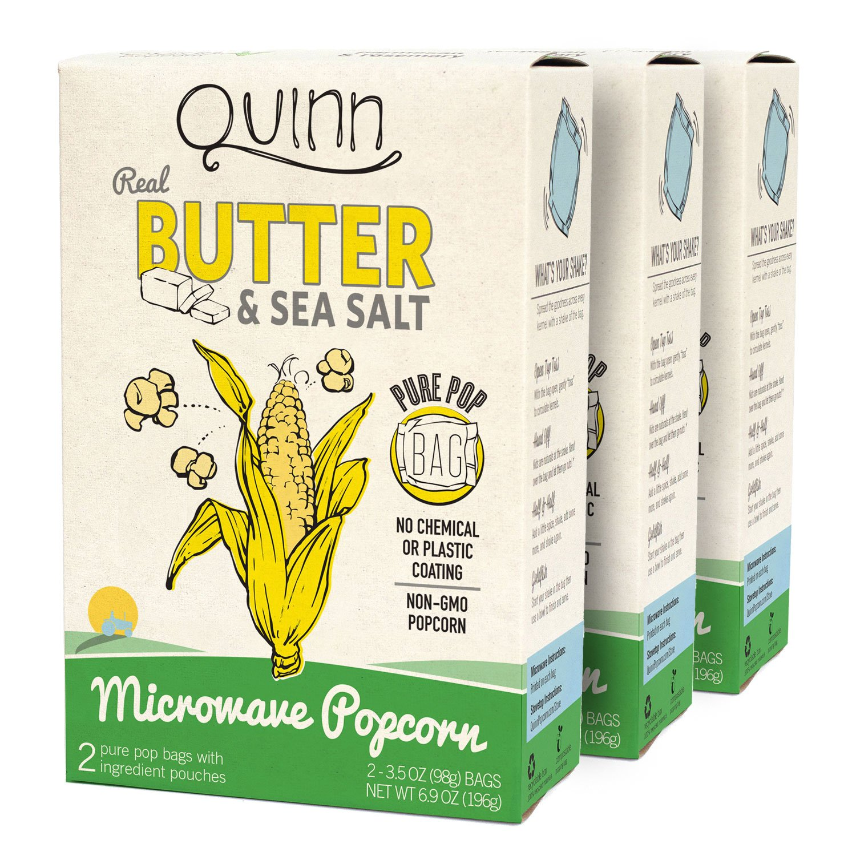 Quinn Snacks Microwave Popcorn, Butter & Sea Salt, 3 Count
