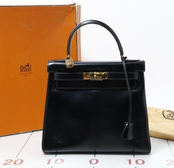 b381f713779 Used brand designer HERMES Kelly W28 Box Calf Black Leather Handbags for  bulk sale.