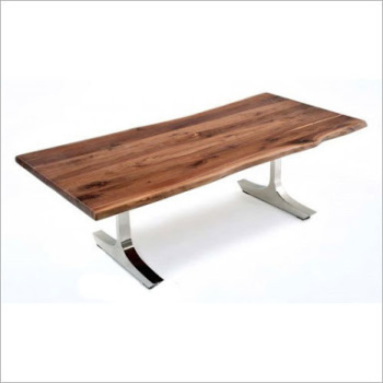 Suar Wood Dining Table With Stainless Steel Leg Vintage Contemporary Style Solid Metal Thick
