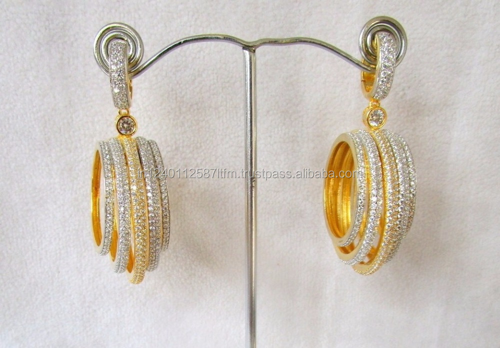 Bollywood Style Jhumka with hanging circles in american diamond and micron plating